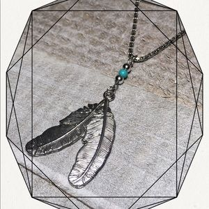 Native American Feather Silver Necklace